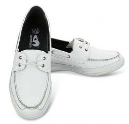 Emsmorn Libra Moccasin Lace Up White Pair